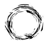 Runder Rahmen des abstrakten Schmutzes Schwarze Farbe spritzt Dynamische heftige Formen Element für Ihre Auslegung Stockfoto