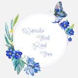 Runder Rahmen des Aquarells von blauen Blumen und von Schmetterling Lizenzfreie Stockbilder