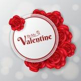 Runder Rahmen des Valentinsgrußes mit roten Rosen Lizenzfreie Stockbilder