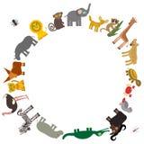Runder Rahmen für Text Tier-Afrika: plappern Sie Hyänen-Nashorn-Zebra-Nilpferd-Krokodil-Schildkröten-Elefantschlange nach Stockbild