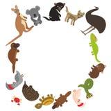 Runder Rahmen für Text Tiere Australien: Kakadupapagei Wombatschlange Monitoreidechse t tasmanischer Teufel echidna-Schnabeltiers Stockfoto