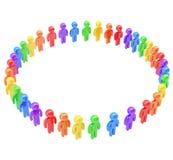 Runder Rahmen gemacht von der Gruppe symbolischen Leuten Lizenzfreies Stockbild