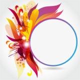 Runder Rahmen mit abstrakten Blumen und Flecken Lizenzfreie Stockfotografie