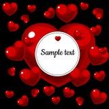 Runder Rahmen mit Bild von roten Herzen mit Text vektor abbildung