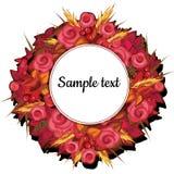 Runder Rahmen mit Blumen von Rosen mit Text lizenzfreie abbildung