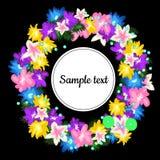 Runder Rahmen mit Kranz von den Blumen lizenzfreie abbildung