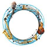 Runder Rahmen mit Musikinstrumenten stock abbildung