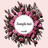 Runder Rahmen mit rosa Kirschblüte und -text stock abbildung