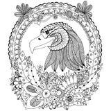 Runder Rahmen Vektorillustration Zen Tangle-Adlers mit Blumen Gekritzelblume Malbuchantidruck für Erwachsene Schwarzes Weiß Lizenzfreies Stockbild