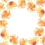Runder Rahmen von Aquarellchrysanthemenblumen stock abbildung