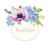 Runder Rahmen von Aquarellmohnblumen und -Hortensie Stockfotos