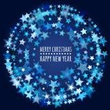 Runder Rahmen von den abstrakten glühenden Sternen Vektorfeiertag backgrou stock abbildung