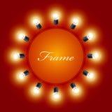 Runder Rahmen von Glühlampen Stockbilder