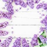 Runder Rahmen von lila Niederlassungen und von Blättern auf hölzernem Hintergrund Flache Lage, Draufsicht Sommermuster Stockbild