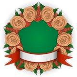 Runder Rahmen von roten und gelben Rosen vector Illustration Stockfotos