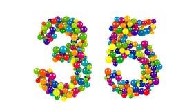 Runder Regenbogen farbige Bälle, die 35 bilden Lizenzfreies Stockfoto