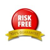 Runder roter Knopf mit Wörter ` Risiko frei- 100% garantieren ` Stockbild