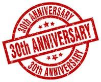runder roter Stempel des 30. Jahrestages Lizenzfreie Stockbilder