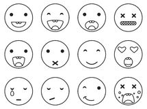 Runder Satz emoji Lächeln des Entwurfs Linearer Artvektor der Emoticonikone Stockfotografie