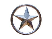 Runder silberner Stern lokalisiert auf weißem Hintergrund Stockfoto