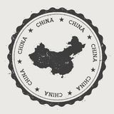 Runder Stempel China-Hippies mit Landkarte Stockbilder