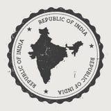 Runder Stempel Indien-Hippies mit Landkarte Stockbild