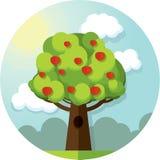 Runder Vektorbildbaum-Apfelapfel unter den Wolken und der Sonne auf blauem Himmel lizenzfreie abbildung