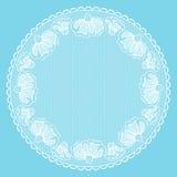 Runder weißer Spitzen- Rahmen Stockbilder