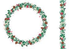 Runder Weihnachtskranz mit Tannenzapfen und Mistelzweig lokalisiert auf Weiß Endlose vertikale Musterbürste Lizenzfreies Stockfoto