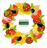 Runder Wreath des Nahrungsmittelkonzeptes Lizenzfreie Stockfotografie