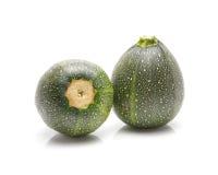 Runder Zucchinis Cucurbita pepoisolated auf weißem Hintergrund stockbild