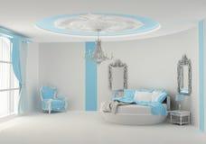 Rundes Bett im barocken Schlafzimmer Lizenzfreies Stockfoto