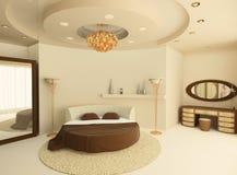 Rundes Bett mit einer verschobenen Decke im Schlafzimmer Lizenzfreie Stockbilder