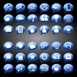Rundes Blau des Sozialmedien-Ikonen-Knopfes Stockbilder