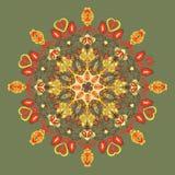 Rundes Blumenmuster. Blumen und Blätter Stockbilder