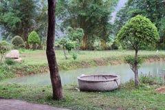 Rundes Boot für die Fischerei Stockbild