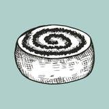 Rundes Brötchen mit Mohnblumenskizzenvektor Stock Abbildung
