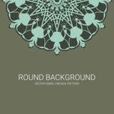 Rundes dekoratives mit Blumensymbol Dekorative Elemente der Weinlese entziehen Sie Hintergrund stock abbildung