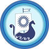 Rundes Emblem mit Slavic boad und Sonnensegel auf weißem Hintergrund Auch im corel abgehobenen Betrag Lizenzfreies Stockfoto