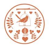 Rundes Fantasiedesign mit Vogel Stockbilder