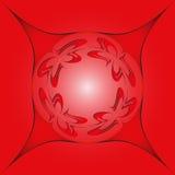Rundes Gestaltungselement, auf einem roten Hintergrund in einem Rahmen lizenzfreies stockbild