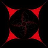 Rundes Gestaltungselement, auf einem schwarzen Hintergrund in einem roten Rahmen lizenzfreies stockfoto
