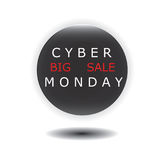 Rundes Glas der cyber-Montag-Verkaufsikone lokalisiert auf weißem Hintergrundvektor Lizenzfreies Stockfoto