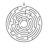 Rundes Labyrinth Mit dem Eingang und dem Ausgang Ein interessantes Spiel für Kinder und Erwachsene Einfache flache Vektorillustra Stock Abbildung