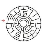 Rundes Labyrinth Mit dem Eingang und dem Ausgang Ein interessantes Spiel für Kinder und Erwachsene Einfache flache Vektorillustra Vektor Abbildung