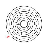 Rundes Labyrinth Mit dem Eingang und dem Ausgang Ein interessantes Spiel für Kinder und Erwachsene Einfache flache Vektorillustra Lizenzfreie Abbildung