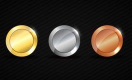Rundes leeres strukturiertes Gold, Silber, Bronzemedaillen Lizenzfreies Stockfoto