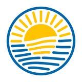 Rundes Logo Sun und Meer Stockbild