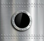 Rundes Metallfenster mit Nieten Lizenzfreies Stockbild