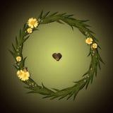 Rundes mit Blumenfeld mit Kamillenblumen und dunklem Hintergrund Stockbilder